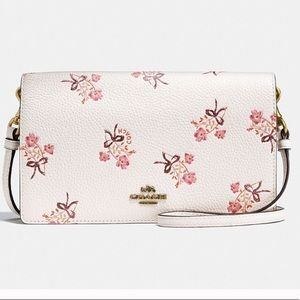 Coach fold over cross body floral purse bag